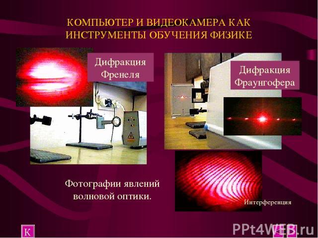 КОМПЬЮТЕР И ВИДЕОКАМЕРА КАК ИНСТРУМЕНТЫ ОБУЧЕНИЯ ФИЗИКЕ К Фотографии явлений волновой оптики.