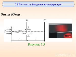 7.5 Методы наблюдения интерференции Опыт Юнга Рисунок 7.5