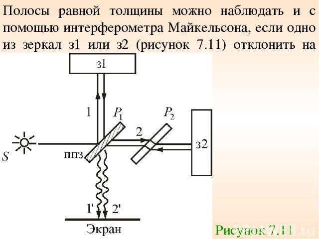Полосы равной толщины можно наблюдать и с помощью интерферометра Майкельсона, если одно из зеркал з1 или з2 (рисунок 7.11) отклонить на небольшой угол. Рисунок 7.11