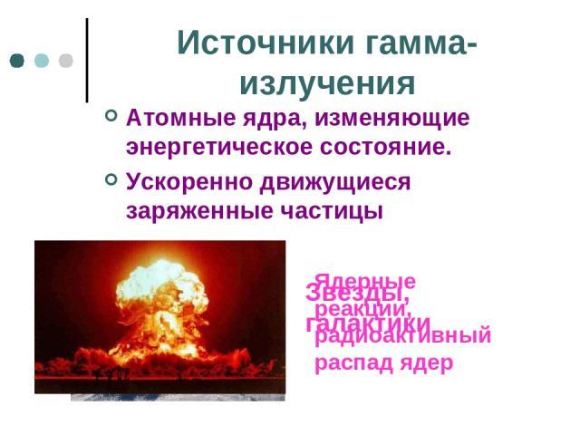 Источники гамма- излучения Атомные ядра, изменяющие энергетическое состояние. Ускоренно движущиеся заряженные частицы Звезды, галактики Ядерные реакции, радиоактивный распад ядер