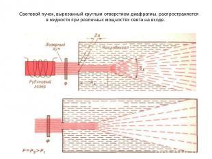Световой пучок, вырезанный круглым отверстием диафрагмы, распространяется в жидк