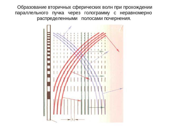 Образование вторичных сферических волн при прохождении параллельного пучка через голограмму с неравномерно распределенными полосами почернения.