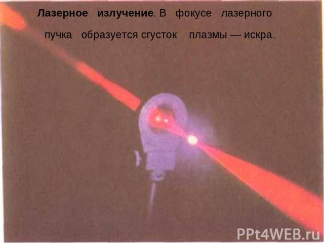 Лазерное излучение. В фокусе лазерного пучка образуется сгусток плазмы — искра.