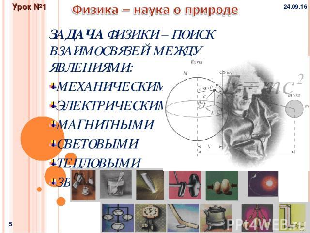 * * Физика и методы научного познания Урок №1 ЗАДАЧА ФИЗИКИ – ПОИСК ВЗАИМОСВЯЗЕЙ МЕЖДУ ЯВЛЕНИЯМИ: МЕХАНИЧЕСКИМИ ЭЛЕКТРИЧЕСКИМИ МАГНИТНЫМИ СВЕТОВЫМИ ТЕПЛОВЫМИ ЗВУКОВЫМИ