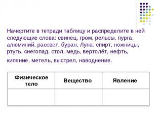 Начертите в тетради таблицу и распределите в ней следующие слова: свинец, гром,