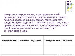 Начертите в тетради таблицу и распределите в ней следующие слова и словосочетани
