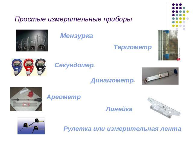 Простые измерительные приборы Мензурка Термометр Секундомер- Динамометр- Ареометр Линейка Рулетка или измерительная лента