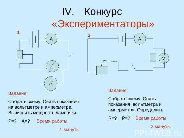 Конкурс «Экспериментаторы» А А V 1 2 Задание: Собрать схему. Снять показания на вольтметре и амперметре. Вычислить мощность лампочки. Р=? А=? Время работы 2 минуты Задание: Собрать схему. Снять показания вольтметра и амперметра. Определить R=? Р=? В…