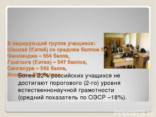В лидирующей группе учащиеся: Шанхая (Китай) со средним баллом 575, Финляндии –