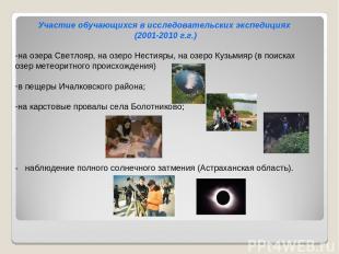 Участие обучающихся в исследовательских экспедициях (2001-2010 г.г.)  на озера