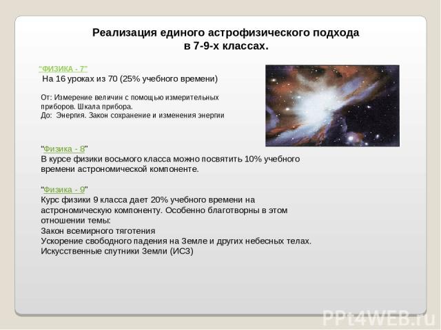"""Реализация единого астрофизического подхода в 7-9-х классах. """"ФИЗИКА - 7"""" На 16 уроках из 70 (25% учебного времени) От: Измерение величин с помощью измерительных приборов. Шкала прибора. До: Энергия. Закон сохранение и изменения энергии """"Физика - 8""""…"""