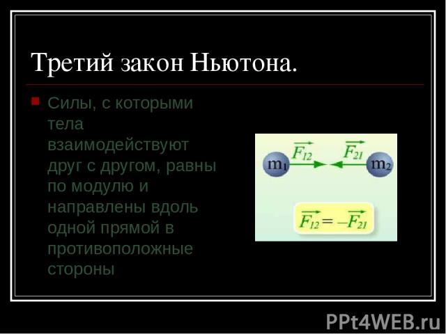 Третий закон Ньютона. Силы, с которыми тела взаимодействуют друг с другом, равны по модулю и направлены вдоль одной прямой в противоположные стороны