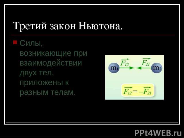 Третий закон Ньютона. Силы, возникающие при взаимодействии двух тел, приложены к разным телам.