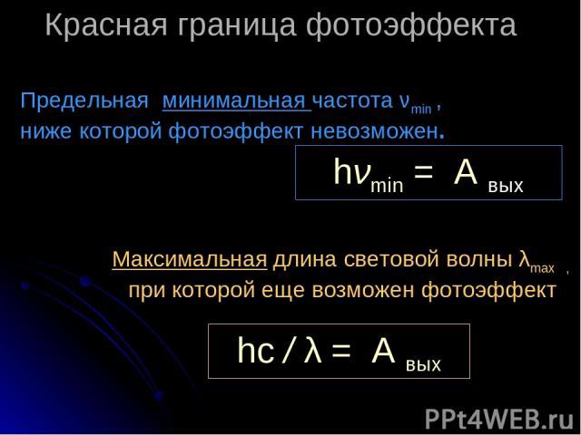 Красная граница фотоэффекта Предельная минимальная частота νmin , ниже которой фотоэффект невозможен. Максимальная длина световой волны λmax , при которой еще возможен фотоэффект hνmin = А вых hc / λ = А вых