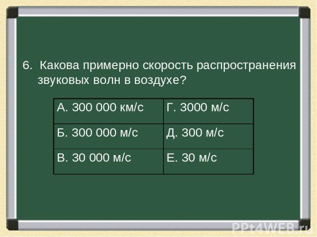 6. Какова примерно скорость распространения звуковых волн в воздухе? А. 300000 км/с Г. 3000 м/с Б. 300000 м/с Д. 300 м/с В. 30000 м/с Е. 30 м/с