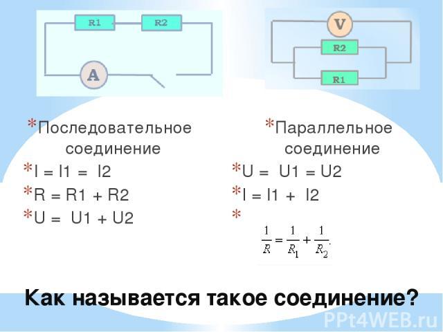 Как называется такое соединение? Последовательное соединение I = I1 = I2 R = R1 + R2 U = U1 + U2 Параллельное соединение U = U1 = U2 I = I1 + I2