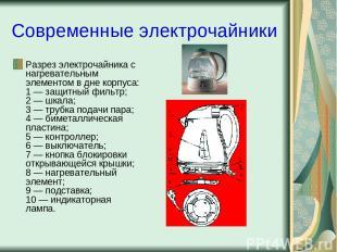 Современные электрочайники Разрез электрочайника с нагревательным элементом в дн