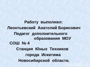 Работу выполнил: Леонтьевский Анатолий Борисович Педагог дополнительного образов