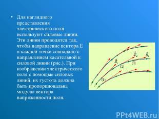 Для наглядного представления электрического поля используют силовые линии. Эти л