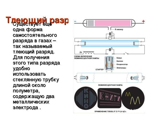 Тлеющий разряд.  Существует ещё одна форма самостоятельного разряда в газах – так называемый тлеющий разряд. Для получения этого типа разряда удобно использовать стеклянную трубку длиной около полуметра, содержащую два металлических электрода .