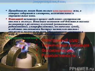 Электронный удар Термическая ионизация Фотоионизация Радиоактивность Проводникам