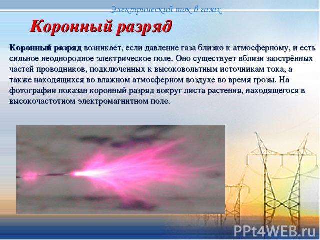 Коронный разряд Коронный разряд возникает, если давление газа близко к атмосферному, и есть сильное неоднородное электрическое поле. Оно существует вблизи заострённых частей проводников, подключенных к высоковольтным источникам тока, а также находящ…