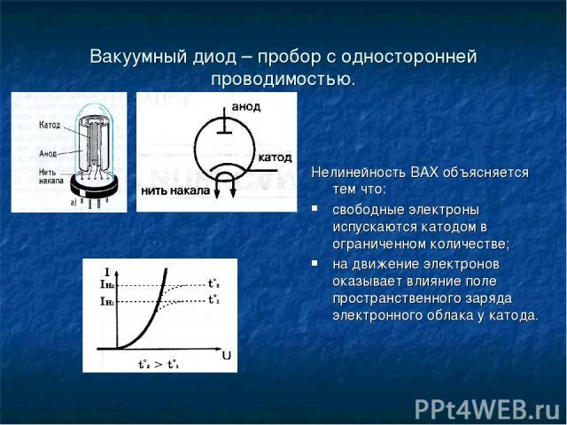 Вакуумный диод – пробор с односторонней проводимостью. Нелинейность ВАХ объясняется тем что: свободные электроны испускаются катодом в ограниченном количестве; на движение электронов оказывает влияние поле пространственного заряда электронного облак…