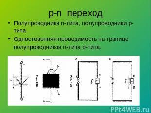 p-n переход Полупроводники n-типа, полупроводники р-типа. Односторонняя проводим