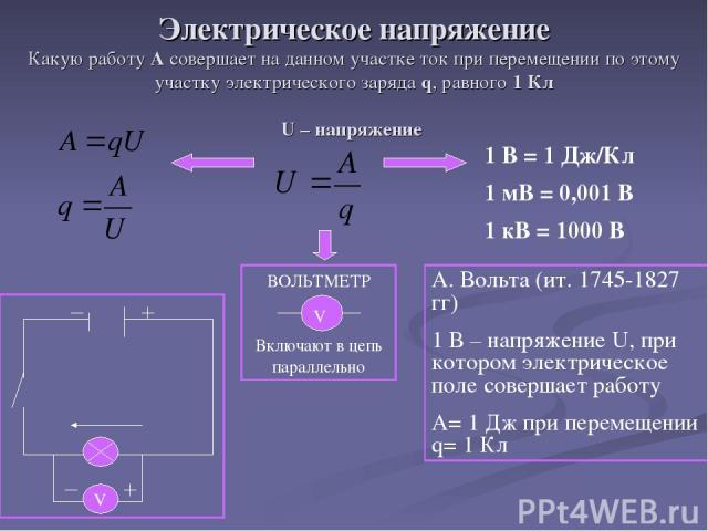 Электрическое напряжение Какую работу А совершает на данном участке ток при перемещении по этому участку электрического заряда q, равного 1 Кл U – напряжение 1 В = 1 Дж/Кл 1 мВ = 0,001 В 1 кВ = 1000 В ВОЛЬТМЕТР Включают в цепь параллельно V А. Вольт…