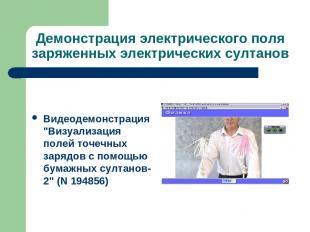 Демонстрация электрического поля заряженных электрических султанов Видеодемонстр