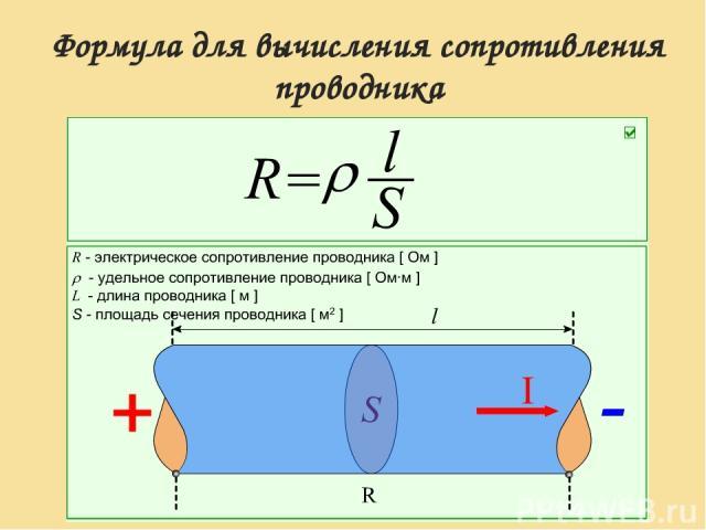 Формула для вычисления сопротивления проводника
