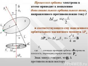 Прецессия орбиты электрона в атоме приводит к появлению дополнительного орбиталь
