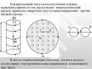 Каждый атомный ток в плоскости сечения стержня, перпендикулярной его оси, предст