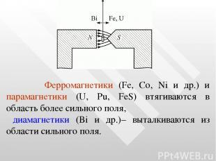Ферромагнетики (Fe, Co, Ni и др.) и парамагнетики (U, Pu, FeS) втягиваются в обл
