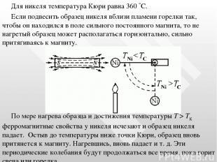 Для никеля температура Кюри равна 360 С. Если подвесить образец никеля вблизи пл