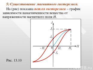 5) Существование магнитного гистерезиса. На (рис) показана петля гистерезиса – г