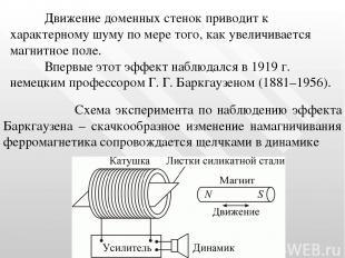 Схема эксперимента по наблюдению эффекта Баркгаузена – скачкообразное изменение