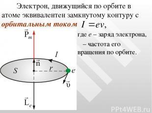 Электрон, движущийся по орбите в атоме эквивалентен замкнутому контуру с орбитал