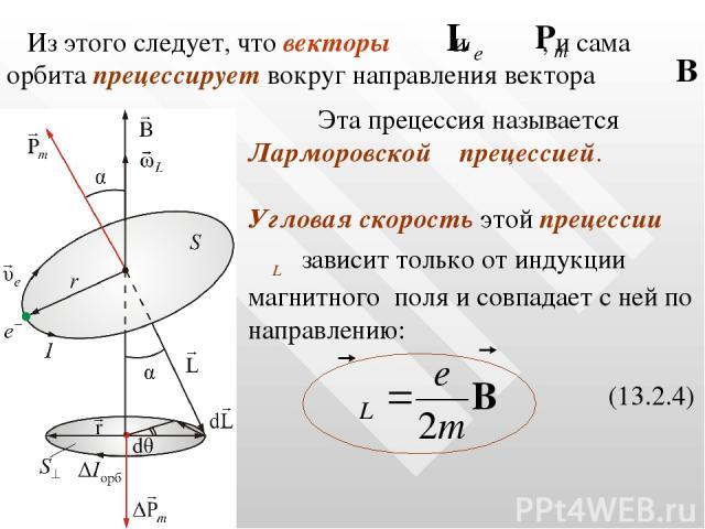 Из этого следует, что векторы и , и сама орбита прецессирует вокруг направления вектора Эта прецессия называется Ларморовской прецессией. Угловая скорость этой прецессии ωL зависит только от индукции магнитного поля и совпадает с ней по направлению:…