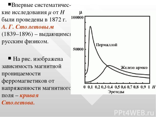 Впервые систематичес-кие исследования μ от Н были проведены в 1872 г. А. Г. Столетовым (1839–1896) – выдающимся русским физиком. На рис. изображена зависимость магнитной проницаемости ферромагнетиков от напряженности магнитного поля – кривая Столетова.