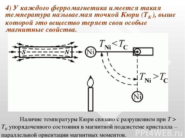 4) У каждого ферромагнетика имеется такая температура называемая точкой Кюри (ТК ), выше которой это вещество теряет свои особые магнитные свойства. Наличие температуры Кюри связано с разрушением при T > TК упорядоченного состояния в магнитной подси…