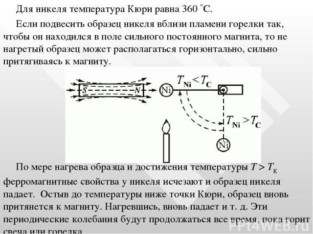 Для никеля температура Кюри равна 360 С. Если подвесить образец никеля вблизи пламени горелки так, чтобы он находился в поле сильного постоянного магнита, то не нагретый образец может располагаться горизонтально, сильно притягиваясь к магниту. По ме…