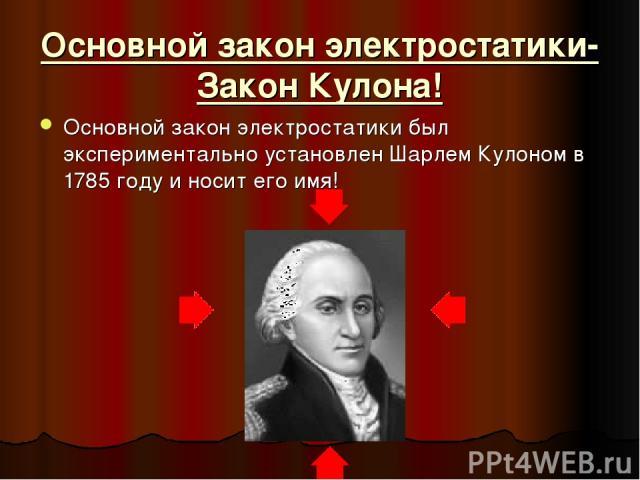 Основной закон электростатики- Закон Кулона! Основной закон электростатики был экспериментально установлен Шарлем Кулоном в 1785 году и носит его имя!