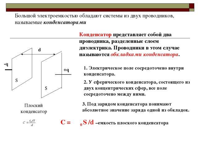 Большой электроемкостью обладают системы из двух проводников, называемые конденсаторами -q +q S S d Плоский конденсатор Конденсатор представляет собой два проводника, разделенные слоем диэлектрика. Проводники в этом случае называются обкладками конд…