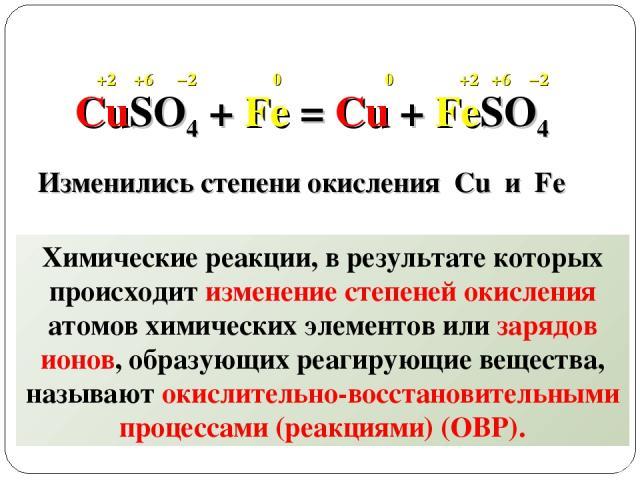 CuSO4 + Fe = Cu + FeSO4 +2 +2 +6 +6 −2 −2 0 0 Изменились степени окисления Cu и Fe Химические реакции, в результате которых происходит изменение степеней окисления атомов химических элементов или зарядов ионов, образующих реагирующие вещества, назыв…