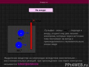 Электролиз На аноде: + (анод) - - Выделение вещества на электродах вследствие ок