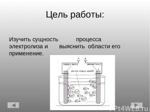 Цель работы: Изучить сущность процесса электролиза и выяснить области его примен