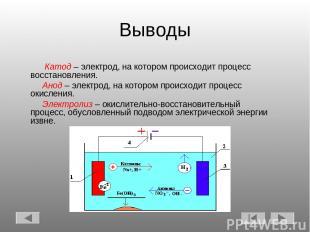 Выводы Катод – электрод, на котором происходит процесс восстановления. Анод – эл