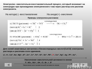 Примеры электролиза расплавов: Электролиз- окислительно-восстановительный процес
