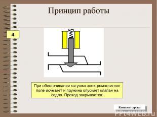 При обесточивании катушки электромагнитное поле исчезает и пружина опускает клап